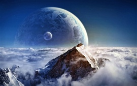 Preview wallpaper Dream clouds on the mountain and the planet