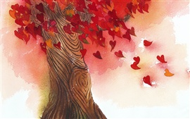 Любовь сердца листьев дерева