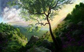 Montanha pintura de árvores
