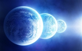 Preview wallpaper Three blue planet