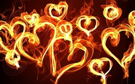Abstraction of love hearts fire