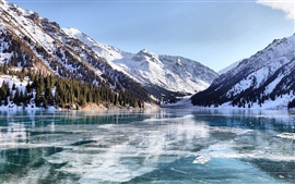 Almaty winter lake