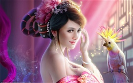 Preview wallpaper Art fantasy girl parrot bird