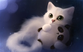 Preview wallpaper Art painting white cat and toy panda