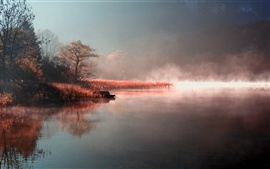 Autumn morning mist of the natural river