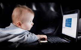 Cute baby boy use laptop