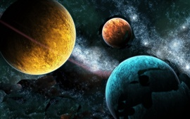 Preview wallpaper Different colors of the three planets