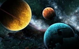 壁紙のプレビュー 3つの惑星の様々な色