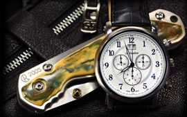 Preview wallpaper Folding knife and swiss watches
