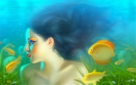 Preview wallpaper Girl mermaid with fish