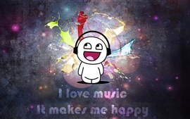 Preview wallpaper I love music, It makes me happy