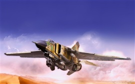 MiG fighter flying in the desert