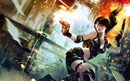 Preview wallpaper Oriental fantasy girl in shootout