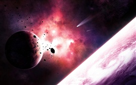 Planets and comets in space purple nebula