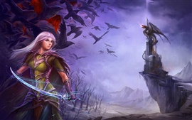 Preview wallpaper Purple hair fantasy girl holding sword