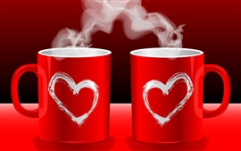 Preview wallpaper Red love couple coffee mugs