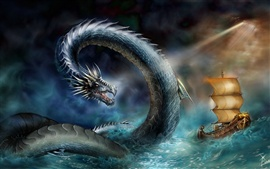 Preview wallpaper Sea snake attack ship