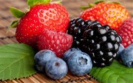 미리보기 배경 화면 딸기 라즈베리 블랙베리 블루베리 열매