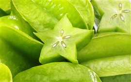 Preview wallpaper Tropical green carambola close-up