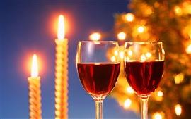 Aperçu fond d'écran Chandelles chaud et de délicieux vins