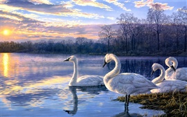 Preview wallpaper Art painting swan lake sunset landscape