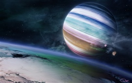 Preview wallpaper Colorful gas giant planet