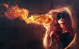 Girl fire red abstract creative