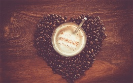 Heart-shaped love of coffee and coffee beans