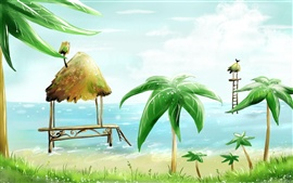 Preview wallpaper Palm beach cabins sea bird vector painting
