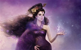 Purple fantasy oriental girl veil