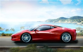Preview wallpaper Red Ferrari sports car at high speed