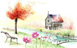 Preview wallpaper Spring garden house beautiful painting