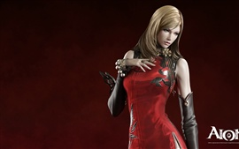 AION red dress blonde girl