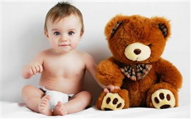Preview wallpaper Baby and teddy bear photo