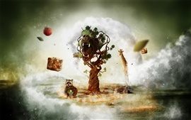 Fantasy art creative animals and tree