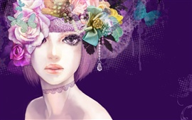 Preview wallpaper Girl Colorful flowers hair creative