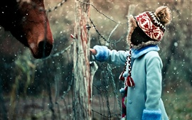 Preview wallpaper Girl and horse in snow winter