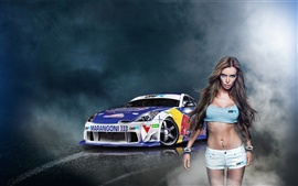 Preview wallpaper Girl with Nissan 350z Drift car