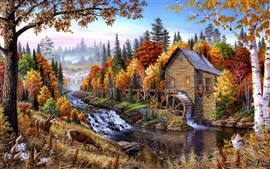 Home in the forest oil painting