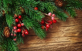Preview wallpaper New Year's pine boughs and red decorative balls