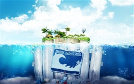 Preview wallpaper Sea wood island water sky creative