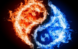 Preview wallpaper Tai Chi graphic blue and red flames