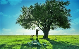 Preview wallpaper Teen girl dog tree beautiful landscape