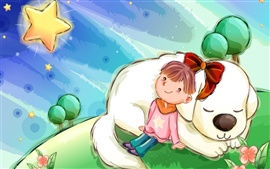 Preview wallpaper The girl with the dog of children's comics