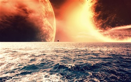 Preview wallpaper The red planet on the sea horizon