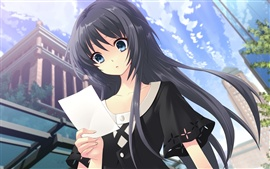 Preview wallpaper Anime girl look at the letter