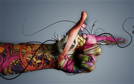 Aperçu fond d'écran La créativité colorée de la main
