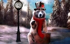 Aperçu fond d'écran Creative hiver peinture ours
