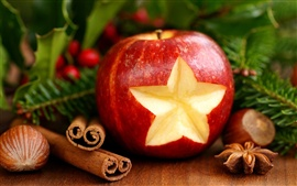 Festive red apple and decorative