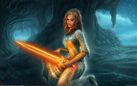 Holding a orange lightsaber fantasy girl